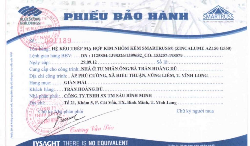 mainhaviet.com- xa go cau phong li to- chinh sach bao hanh smartruss