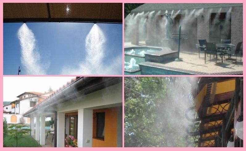 Lợp mái ngói kết hợp lắp đặt phun sương để giảm hơi nóng vào nhà.