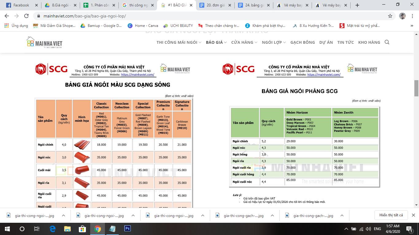 Bảng đơn giá gạch SCG tại Mái Nhà Việt có sự thay đổi