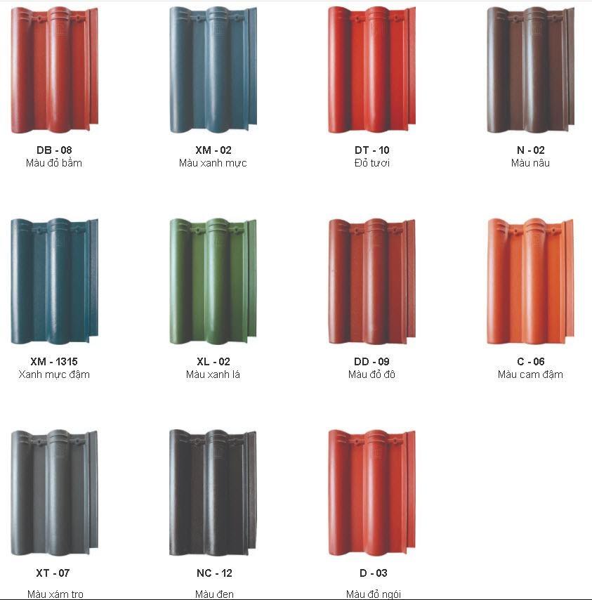 Màu sắc ngói đa dạng